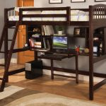 Wooden loft bed with built in desk ladder and bookshelf in dark brown finishing