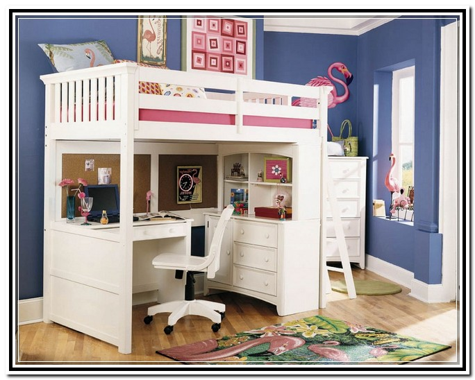 Bunk beds with desks under them loft bed on the top and a Kids loft bed with desk