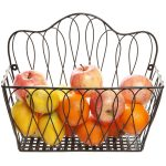 Wrought Iron Wall Mounted Fruit Basket With Apples And Oranges