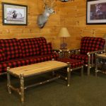 Black Red Buffalo Check Upholstery Fabric For Bamboo Framed Couch