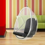 clear buble hang chair idea with black cushions