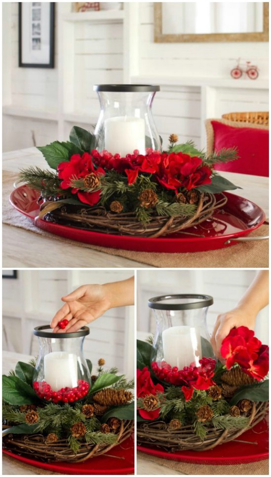christmas centerpieces with candles  homesfeed, Beautiful flower