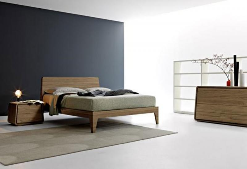 solid wood bed frame idea with headboard in minimalist style vintage style wood bedside table with