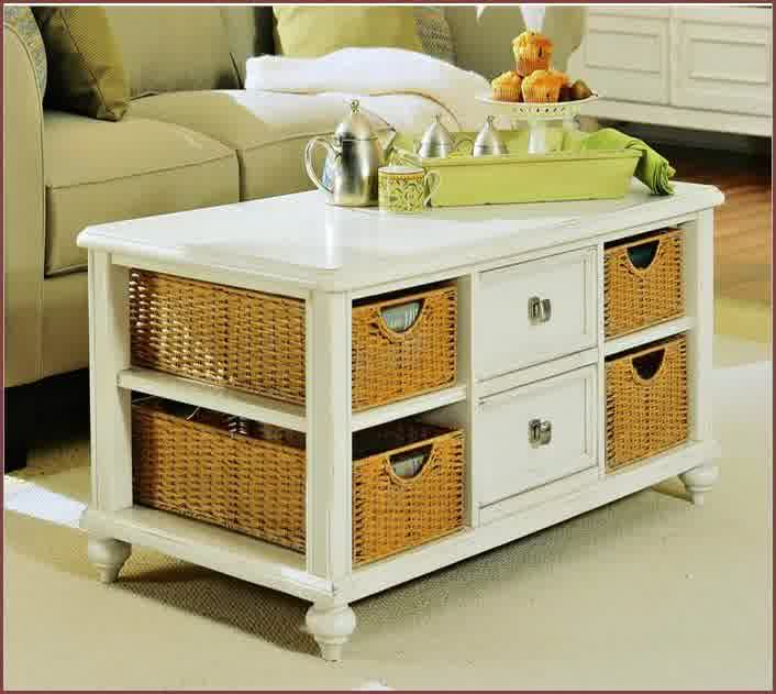 Amazing White Finished Wood Coffee Table Idea With Drawers And Baskets