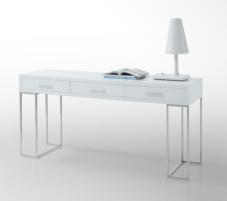 White Minimalist Lacquer Console Table With Drawers