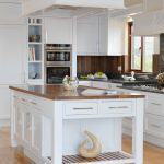 Adorable Wooden White Stand Alone Kitchen Islands With Hanger Ceiling