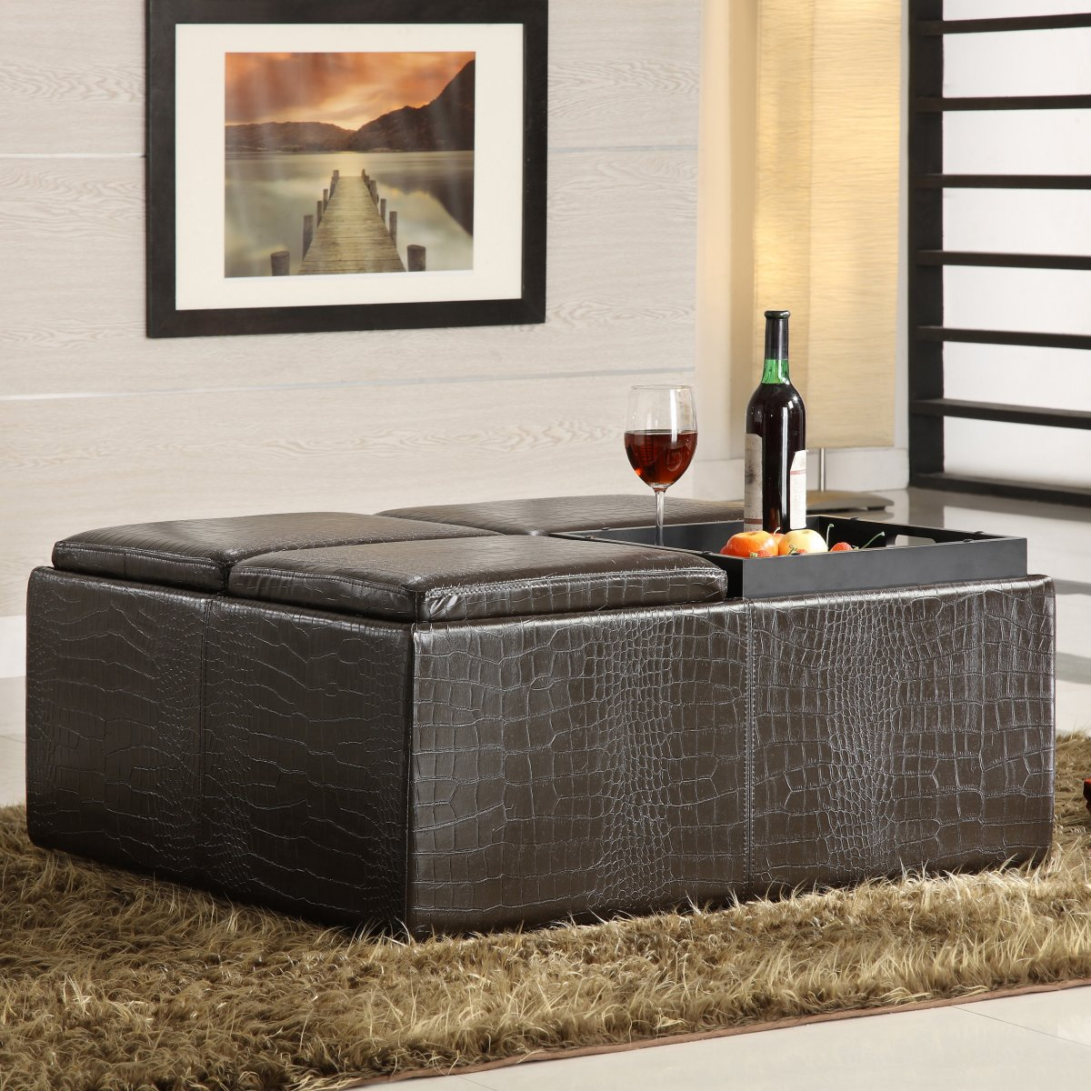 Astounding Large Square Storage Ottoman Homesfeed Machost Co Dining Chair Design Ideas Machostcouk