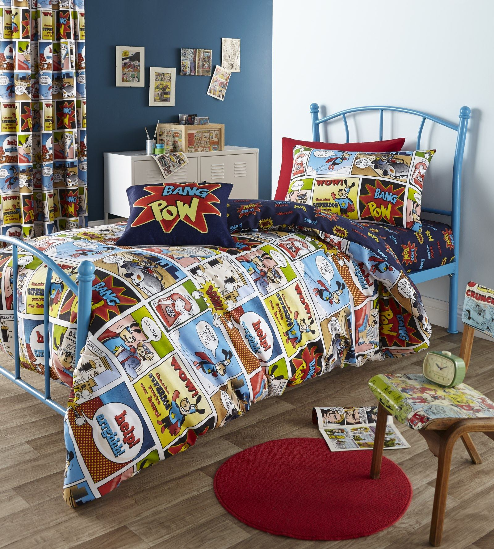 Amazing Superhero Bedding Sets With Wrought Iron Blue Bed Frame Round Red Rug And Wooden Chair
