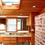 Amazing Wood Ceiling Planks On Bathroom With Stone Wall Combination