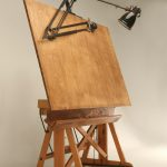 Antique Wooden Drafting Table With The Lamp