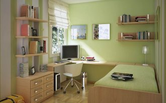 Attractive Green Wall Color With Corner Small Bedroom Desks And Simple Bed