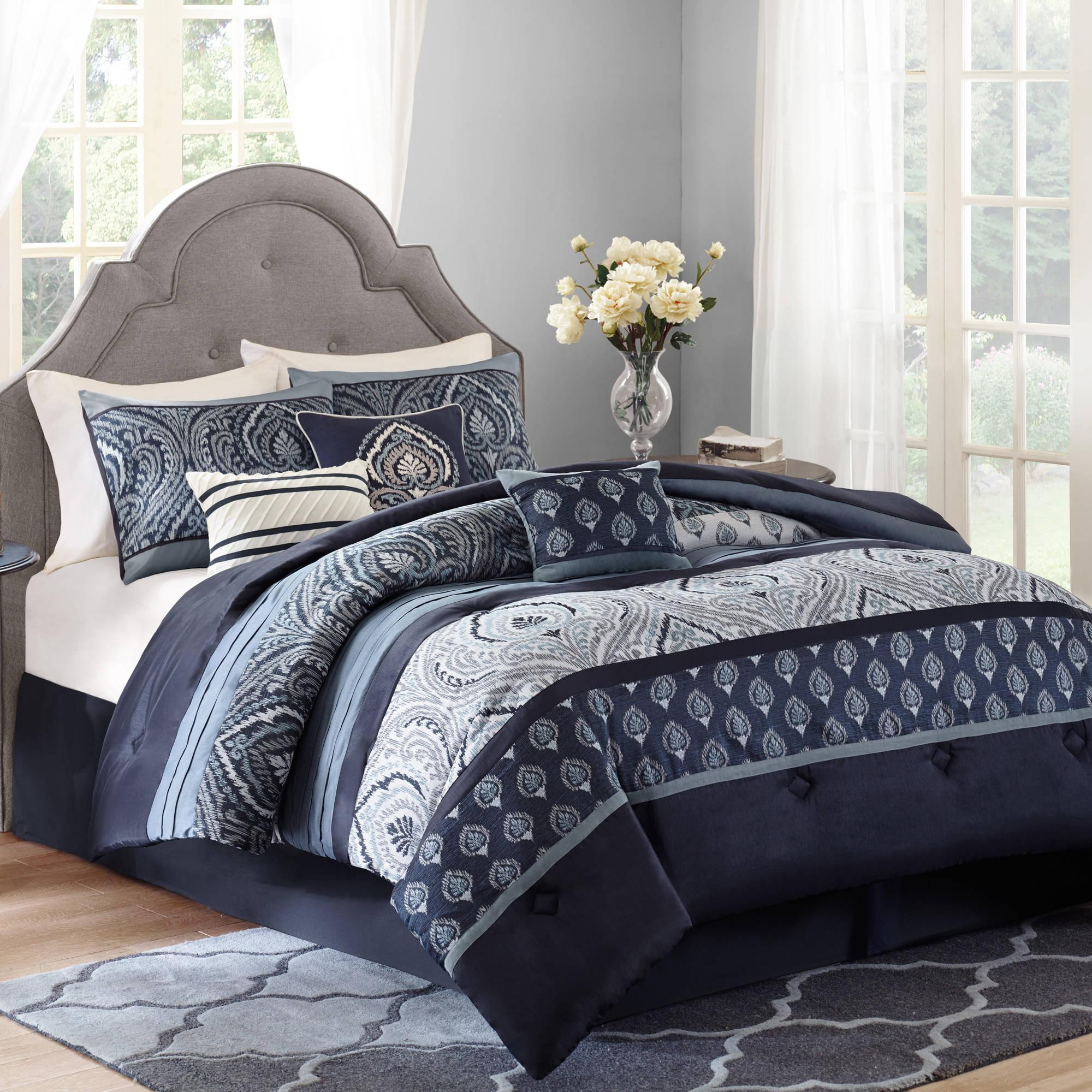 Ordinaire Awesome Dark Blue Better Homes And Garden Comforter Sets And Rug With White  Curtains