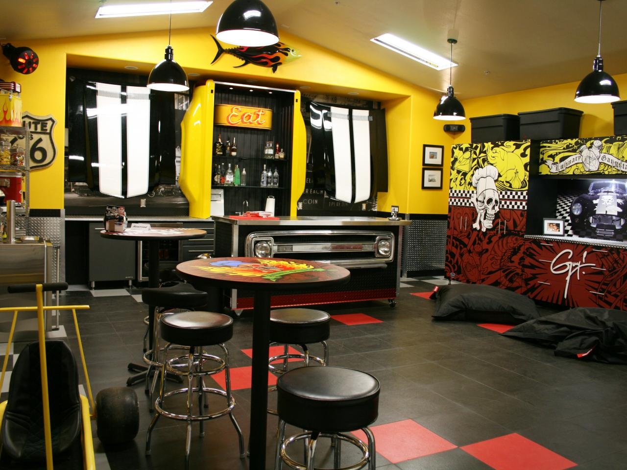 Awesome Finished Garage Finishing Ideas With Yellow Paint And Industrial  Furniture