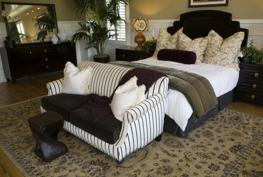 Awesome White Bedding With Wooden Cabinet And Stripped Sofa Of Small  Loveseat For Bedroom