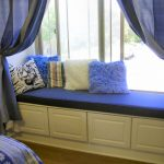 Bay Cushions For Window Seats With Blue Curtains And Fur Pillows