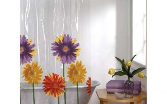 Beautiful Clear Shower Curtain With Design Of Flowers And Wooden Small Table With Purple Towels