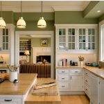 Best Material For Kitchen Sink With Green Wall White Cabinet And Pretty Lighting