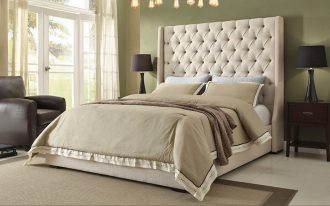 Big And Tall Upholstered Bed With Green Wall And Bedding