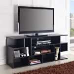 Black Flat Screen TV Stands With Mount And Racks Plus Fur Rug