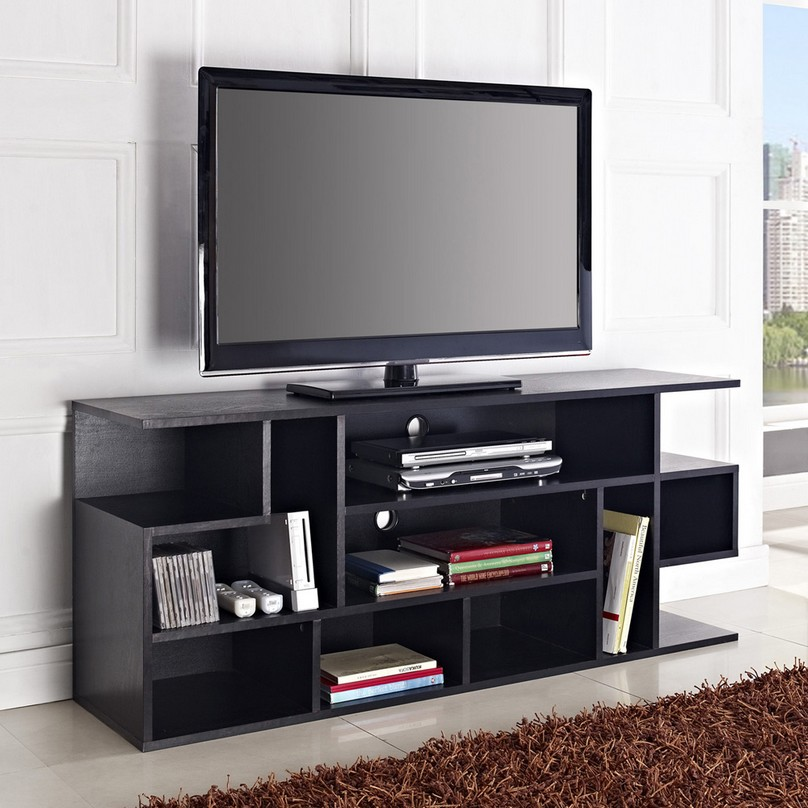 Etonnant Black Flat Screen TV Stands With Mount And Racks Plus Fur Rug