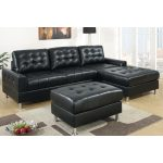 Black Leather Poundex Bobkona Modular Sectional With Ottoman And Squared Rug