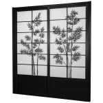 Black Shoji Screen Ikea With Tree Pattern Design