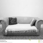 Black White Striped Sofa And Pillows