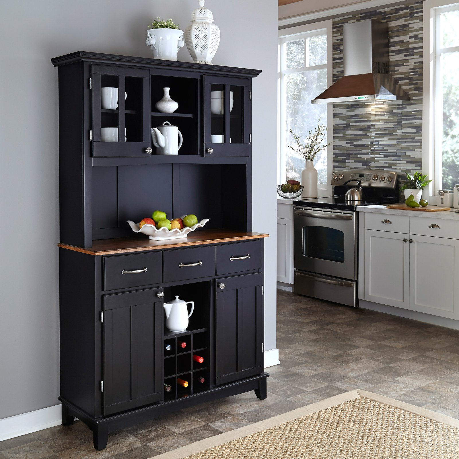 Merveilleux Black Wooden Baker Rack With Drawers And Cabinet Inside Kitchen White Set  Natural Rug