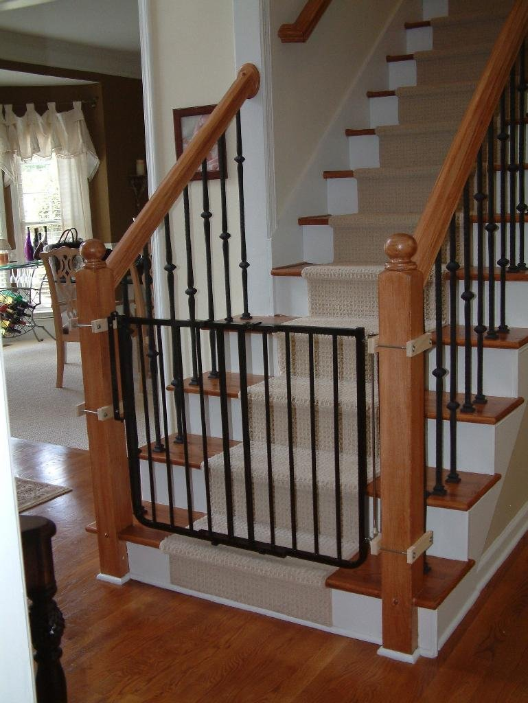 Exceptionnel Black Wrought Iron Child Safety Gates For Stairs