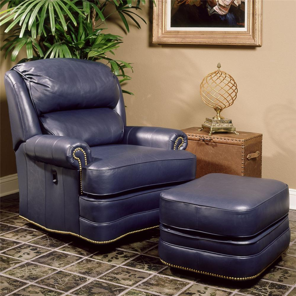 Blue Leather Chairs With Ottomans For Living Room And Trunk Side Table