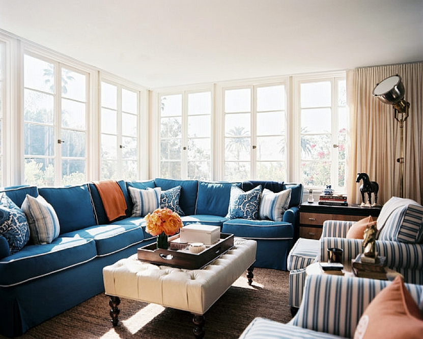 blue sectional sofa with pillows for sofas decorating and double