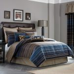 Brown Comforter Sets For Men With Grey Wall And Linen Bed Skirt