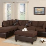 Brown Dark Poundex Bobkona Modular Sectional With Medium Rug And Side Table
