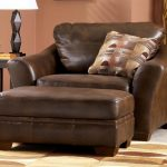 Brown Leather Oversized Chairs With Ottomans For Living Room