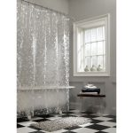 Clear Shower Curtain With Design Of Bubble And White Tub Plus Small Table