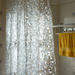 Clear Shower Curtain With Design Of Glass Effer And Towel Holder