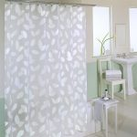 Clear Shower Curtain With Design Of Modern Leaf And White Bathroom Furniture