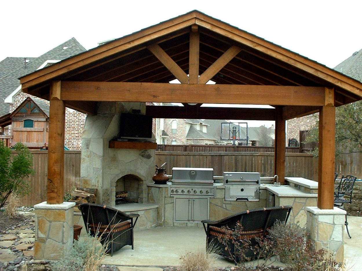 Contemporary Gazebo Plans With Fireplace And Outdoor Kitchen