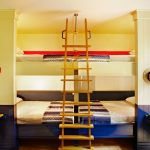 Contemporary Wall Mounted Quadruple Bunk Beds With Wooden Stairs And Desks