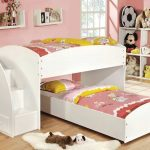 Contemporary White Toddler Bunk Beds With Stairs And Dolls Shelves