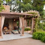 Cool Outdoor Gazebo Plans With Fireplace Curtains And Flowers