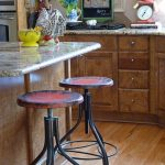 Cool Rustic Style Of Vintage Metal Bar Stools With Wooden Cabinet
