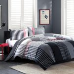 Cool Stripped Color Design Of Comforter Sets For Men With Rug And Red Side Table