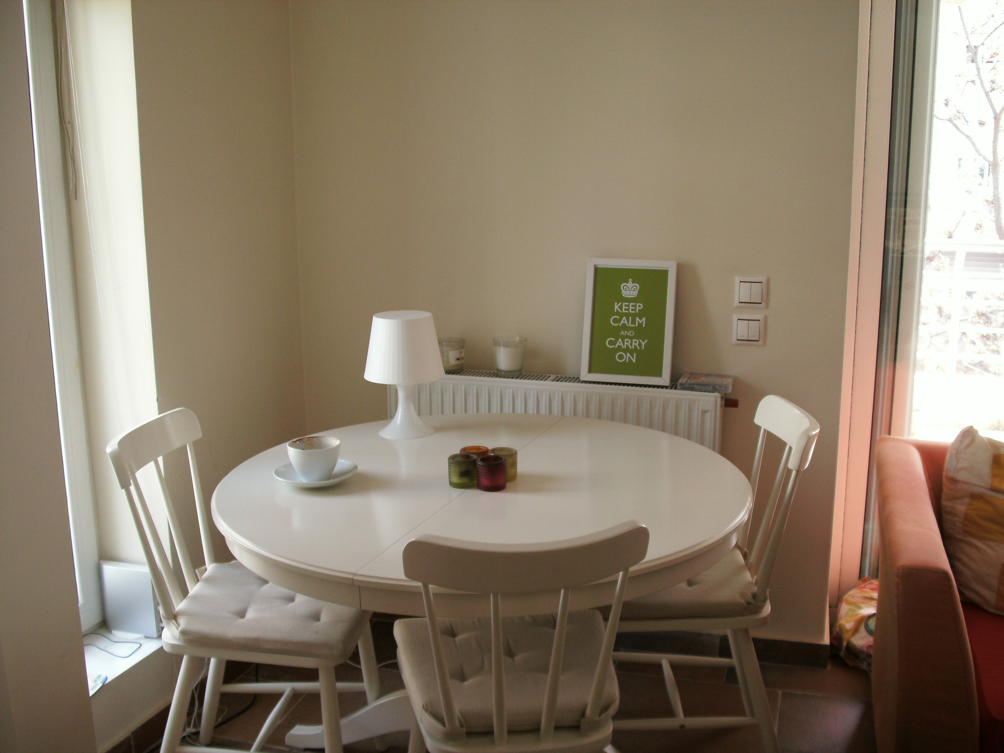 Corner Furniture Set Round White Table And Three Chairs Near Sofa And Cabinet