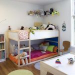 Corner Toddler Bunk Beds With Stairs And Wooden Bookshelf Plus Table