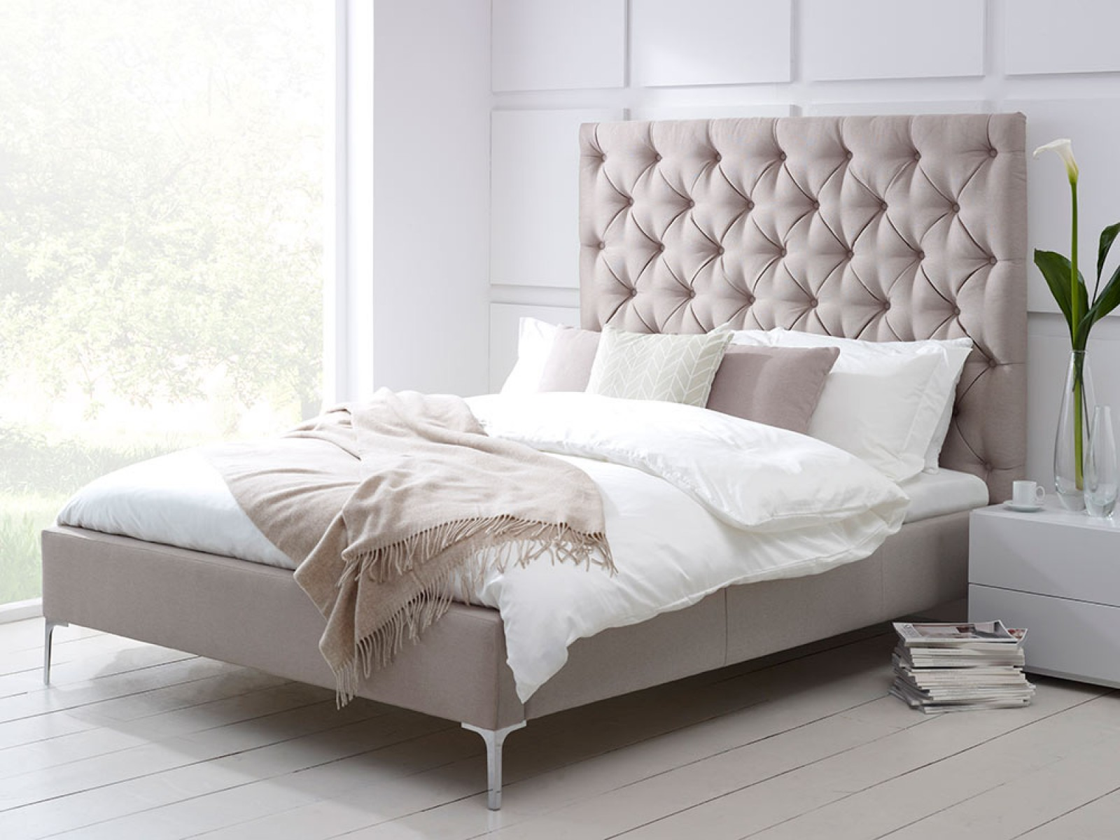 Amazing Tall Upholstered Bed Homesfeed