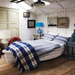Creative Bed Frame With Nautical Theme Dominate With Blue And White COlor For Bed Pillows And Best Design Of Hardwood Floor And Wall