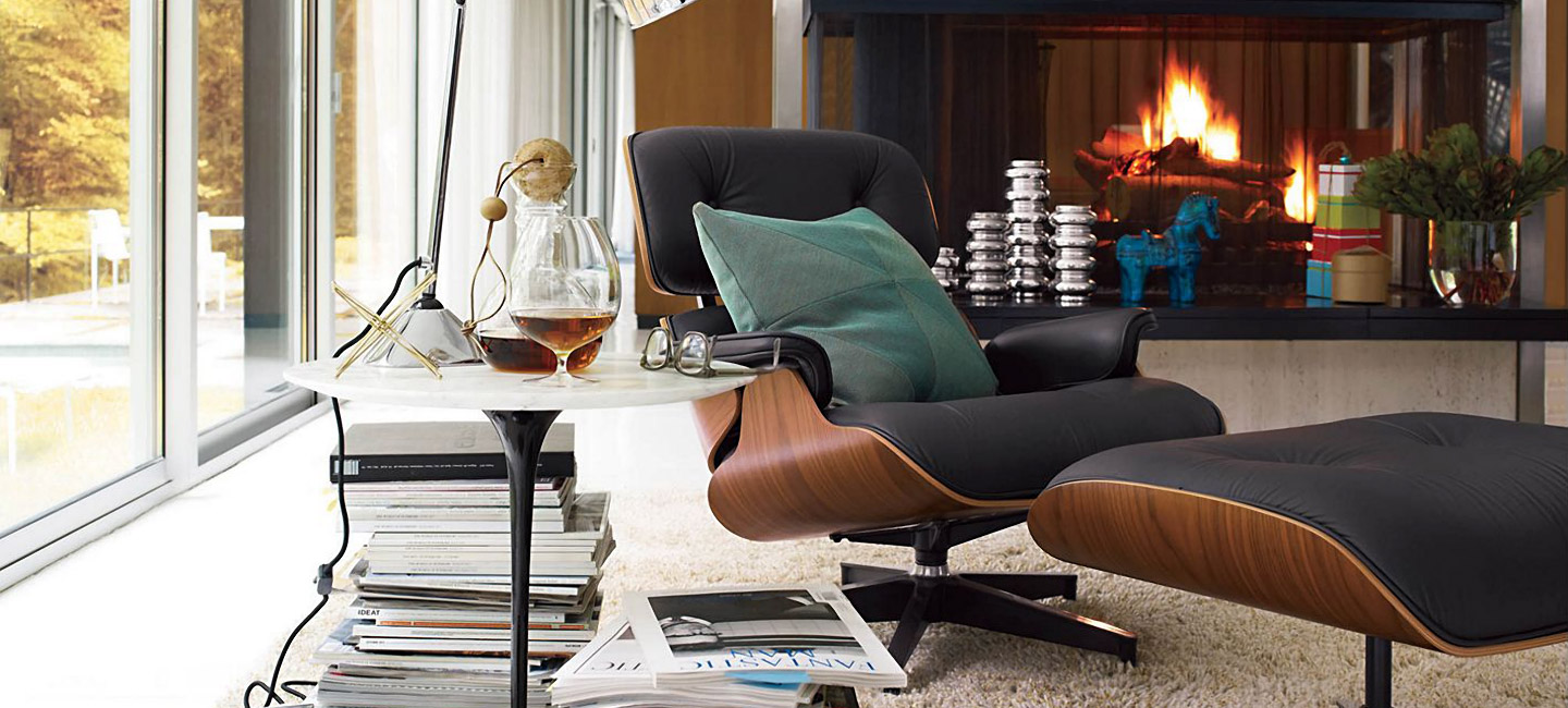 Lovely Dark Armchair For Reading With Ottoman And Tulip Side Table
