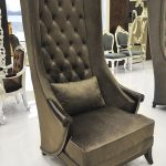 Dark Brown Duchess High Back Chairs For Living Room With Small Pillow