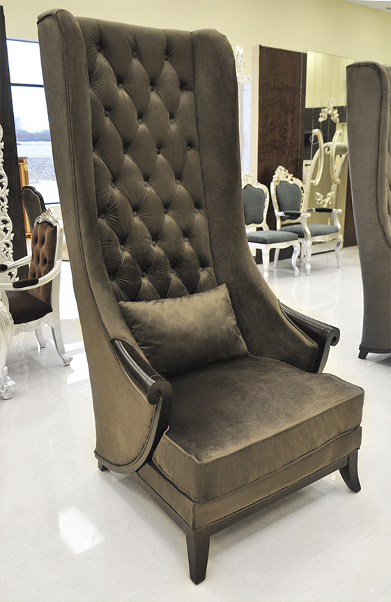 dark brown duchess high back chairs for living room with small pillow - High Back Chairs For Living Room
